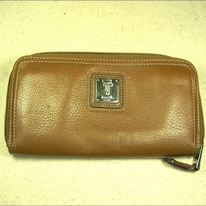 Tignanello Brown Pebbled Leather Wallet Clutch